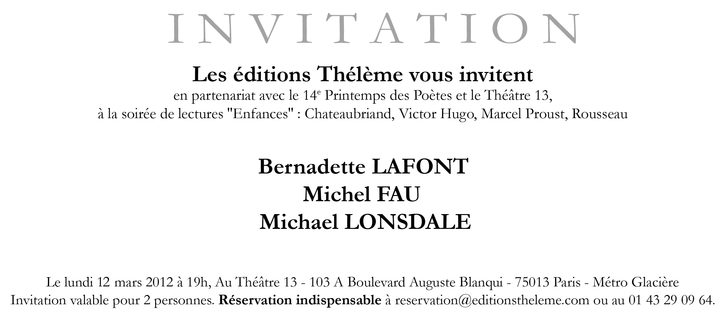Invitation spectacle 12 mars 2012
